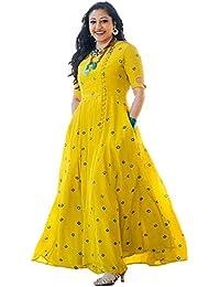 6TH AVENUE STREETWEAR Women's Rayon Anarkali Kurta - Yellow