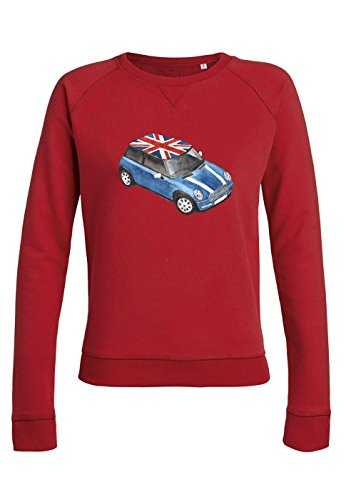 ul14 Sweat pour femmes Trips Mini Cooper with Great Britain Flag red