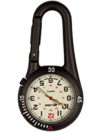 Black Clip on Carabiner FOB Watch with White Face Ideal for Doctors Nurses Paramedics Chefs