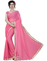 Krishna Emporia Women's Lycra Saree With Blouse Piece(Baby Pink ,Free Size)
