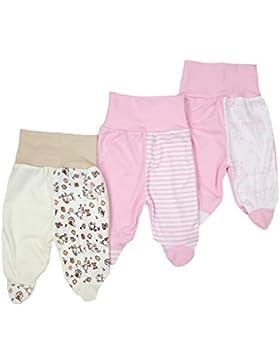 TupTam Unisex Baby Strampelhose Hose mit Fuß 3er Set