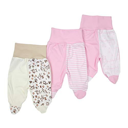 TupTam Unisex Baby Strampelhose Hose mit Fuß 3er Set, Farbe: Mädchen, Größe: 56