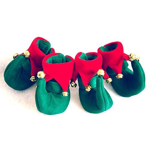 Yunt 4pcs Hundeschuhe pfotenschutz Socken für kleine Hunde Katzen Halloween Weihnachts Kostüm (Kostüm Weihnachten Für Hunde)