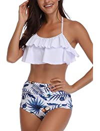 5359434bf7 AMAGGIGO Swimsuit for Women High Waisted Halter Vintage Push up Bikini Set  Ladies Plus Size 2