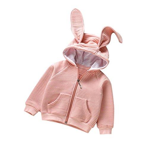 Und Winter Mädchen Hasenohren Langärmelige Strickjacke Tops Kleidung (Rosa, 100) (Mollige Mädchen Halloween-kostüm Ideen)