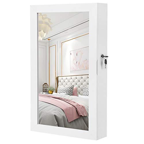 SONGMICS Hängend Schmuckschrank Wandspiegel zum Hängen mit Tür und Magnetverschluss 67x37x10,5 cm Weiß JBC51W -