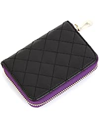 Genuine Leather Accordion Style Zipper Name Card Wallet Useful Credit Card Wallets Small Purse (Purple) By H_Fourteen