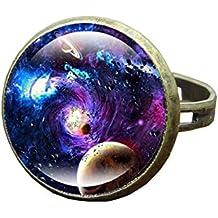 Inception Pro Infinite Anillos de cabujón con la Imagen de la Galaxia - Tamaño Ajustable -