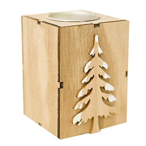 Wand-hurrikan-kerze (Hoxin Weihnachtskerzenhalter 2.76x3.54 H, Holzständer Kerzenhalter Teelichthalter Xmas Home Wedding Decor Geschenk (Weihnachtsbaum))