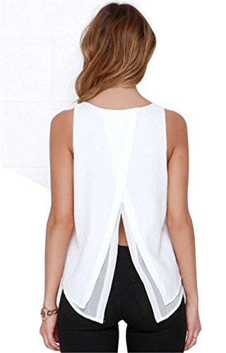 JOTHIN 2017 Madchen Rückenfreie Chiffon T-shirt ärmellose Tops Casual Sommer Bluse Einfarbige Weiß