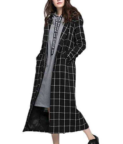 ZFANG Mantel Anzug Kragen Plaid Lange Paragraph Coat Herbst und Winter Casual Loose Windbreaker , black , XL Pea Coat Trenchcoat