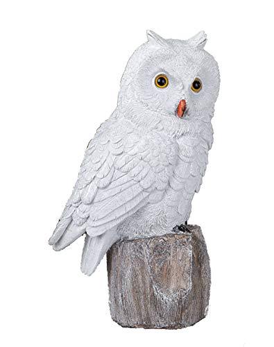 ule sitzend 29 cm Dekofigur aus Kunststein weiß Weihnachten Winterdeko ()
