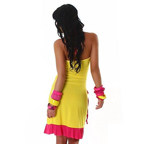 Robe femmes courte d'été Sexy avec volants Rose Taille unique 8, 10, 12, 14–Taille unique-EU 36, 38, 40, 42 - Yellow - dark pink