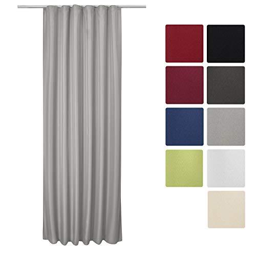 Beautissu Fenster Vorhang Kräuselband-Vorhang Amelie - 140x245 cm Grau - Dekorative Gardine Universalband Fenster-Schal (Dekorative Fenster-schal)