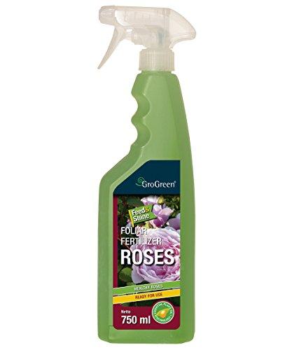 GroGreen Feed & Shine Rosen 750 ml Rosendünger Flüssig Gebrauchsfertig, Sprühflasche, Bioaktiv, Weniger Fungizide nötig, Genießen Sie gesunde und vitale Rosen