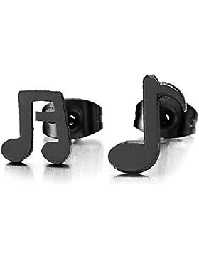 Schwarz Musikzeichen Ohrstecker Mädchen Damen, Gestüt Ohrringe Edelstahl, Ohrschmuck, 2 Stücke