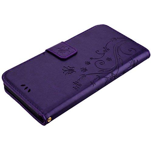HB-Int 3 en 1 Housse en PU Cuir pour Apple iPhone 7 Plus (5.5 pouces) Noir Originale Motif Etui Papillon Fleur Coque Pochette Flip Housse Stand Fonction Cover Case Card Slots Book Style Coque avec Fer Violet