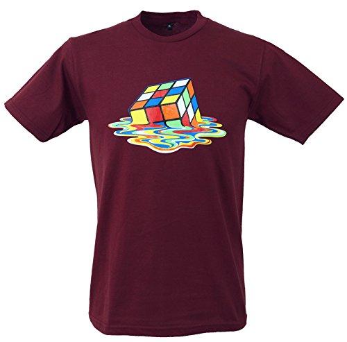 60f7f447403e Guru-Shop Fun T-Shirt `Zauberwürfel`, Herren, Bordeaux, Baumwolle