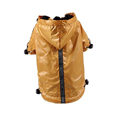 perfk Hunde Regenmantel reflektierende Regenjacke mit Kapuze und Bauchschutz - Gelb, S