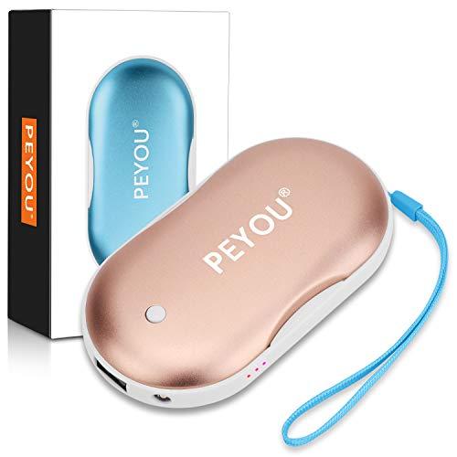 PEYOU Handwärmer USB, Taschenwärmer Wiederverwendbar Powerbank 5200 mAh mit LED Taschenlampe Große Kapazität und doppelseitige Heizung für Mädchen, Männer, Externe Backup Ladegerät Akku für Smartphone