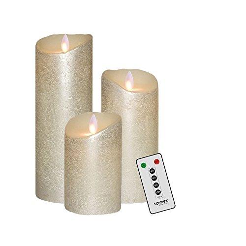 Sompex Flame Cera Auténtica LED vela, telecomandabile, Plata–en diferentes tamaños