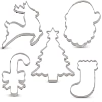 KENIAO Christmas Cookie Cutter Set - 6 Piece - Christmas Tree with Star, Santa Face, Gingerbread Man, Reindeer, Candy Cane with Bow and Stocking Biscuit Fondant Cutters - Stainless Steel