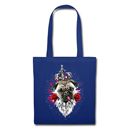 Stoccolma Royal Carlino Con Rose E Borsa In Tessuto Blu Royal