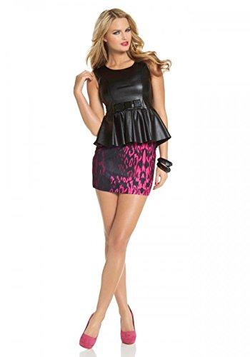 Lederimitat-Kleid m. Schößchen, schwarz-pink von Melrose Groesse 36