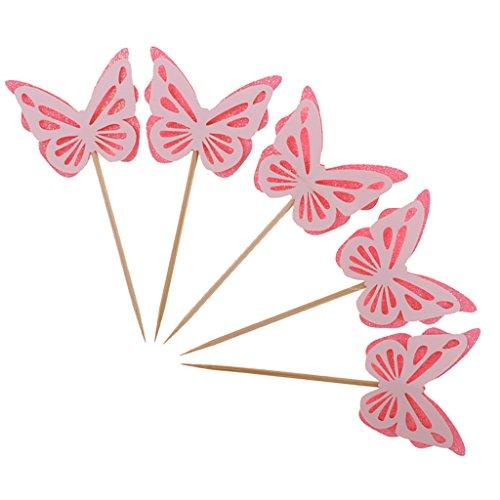MagiDeal 5 Stück Schmetterling Form Kuchenaufsätze Kuchendekoration Kuchendeckel Tortendeko Tischdeko