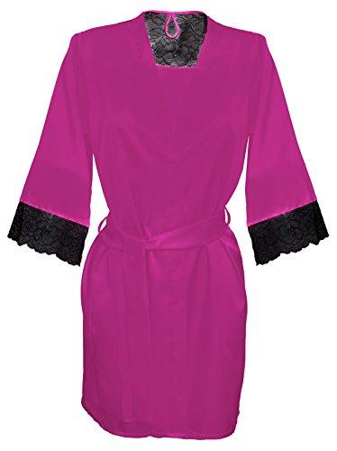 DKaren-Nachtwäsche Damen Morgenmantel aus Satin NIKOLA (XS - 2XL) Pink