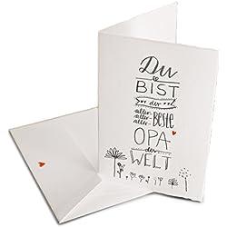 Glückwunschkarte für den besten Opa der Welt - Grußkartekarte oder Dankeschön Karte zu Vatertag, Geburtstag, Klappkarte aus Bütte inkl. Umschlag