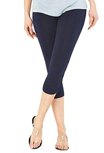 Damen Baumwoll-Stretch-Soft Ebene 3/4 unter Knie Ernte Leggings-Farben & Größen(ladies ¾ under knee)Ref:2191 cotton (Medium, Marineblau(navy)) (3/4 Ernte)