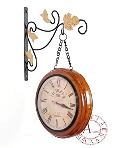 akhandstore 10 inch double side retro wall clock metal station clock chain wooden