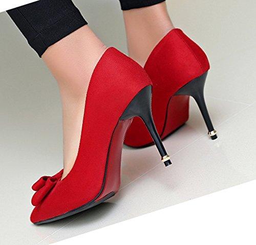 Aisun Femme Sexy Chaussures de Mariées Talon Aiguille Escarpins Rouge