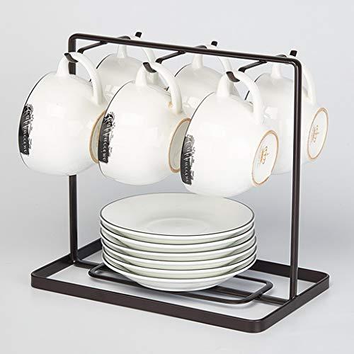 Porte-tasse à café en métal tasse porte-présentoir Accessoires de cuisine Rangement tasse à thé organisateur Porte-cintre 6 crochets