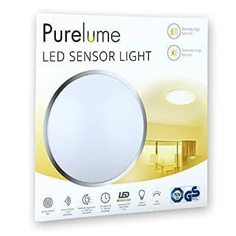 purelume led sensorleuchte deckenlampe mit bewegungsmelder und lichtsensor 15w 1400lm warmwei. Black Bedroom Furniture Sets. Home Design Ideas