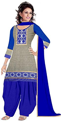 Women's Clothing Designer Party Wear buy online Grey Color Cotton Fabric Free Size Salwar Kameez Dress Material Today Best Offer Sale by Rensila Fab