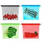 QH-Shop Lebensmittelaufbewahrung Wiederverwendbare Silikon Küche Frische Lebensmittel Aufbewahrungstasche Vielseitige Konservierungs Beutel Lebensmittel Container für Obst Gemüse Fleisch 1L 4 Pack
