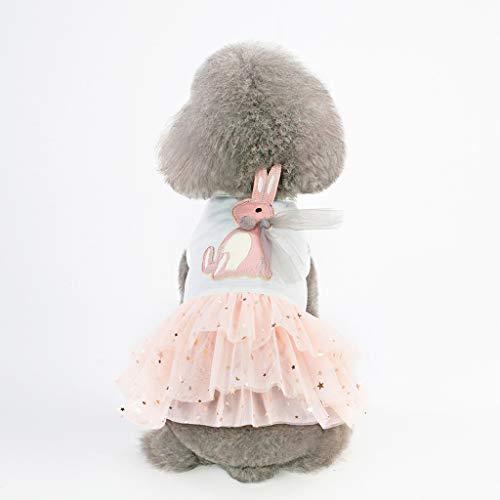 Spitzen Fußball Kostüm - YWLINK Haustier Hund 3D Karikatur Kaninchen Drucken Kleider Katze Spitze Patchwork Abendessen Party Atmungsaktives Prinzessin Kleid(M,Weiß)