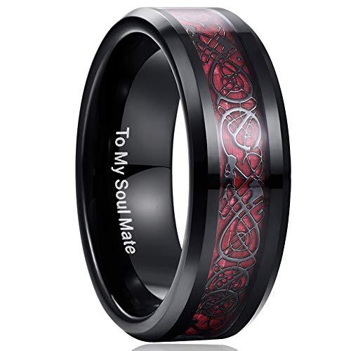 NUNCAD Unisex Ring Paare Wolfram mit Keltischen Drachen + Kohlefasern Blassrot für Hochzeit Valentinstag Trauung Party Größe 59 (19)