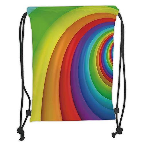 ZiJface Drawstring Backpacks Bags,Rainbow,Rainbow Colored Half Circles Getting Bigger and Bigger Perspective Computer Graphic,Multicolor Soft Satin,5 Liter Capacity,Adjustable String Closu