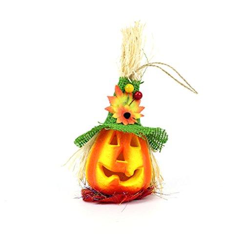 BESTOYARD Niedliche Halloween-Laterne Kürbis Vogelscheuche Licht Happy Halloween Party Dekoration (grüner Hut)