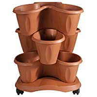 Bama Trifoglio 3 Piece Plant Pot and Saucer with Wheels, Terracotta, 40x40x51 cm