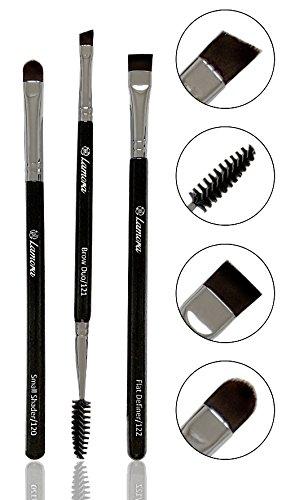 Bestes Augenbrauenpinsel Set - 3 Make Up Augenpinsel - Beauty Makeup Pinsel Set zum Auftragen von Lidschatten, Pomade, Eyeliner, Gel, Wax, Puder und Kosmetik für Perfekte Wimpern und Augenbrauen