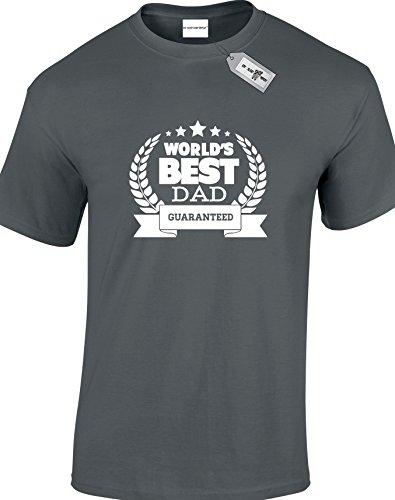 World 's Best Dad garantiert, Herren Unisex Erwachsene T-Shirts. KOSTENLOSE LIEFERUNG IM LIEFERUMFANG ENTHALTEN. Schwarz - Dunkelgrau