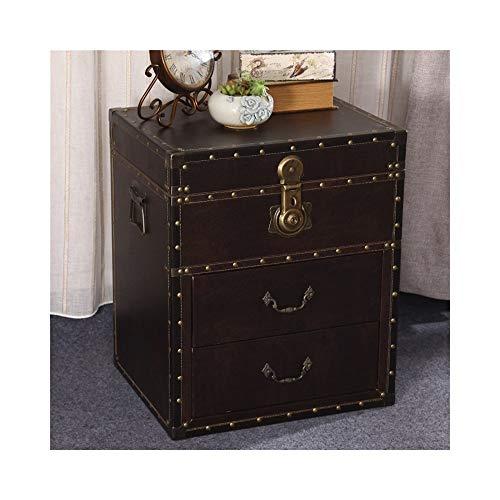 ZXPzZ Retro Nachttisch Distressed Leder Nachttisch Creative Side Cabinet Gepolsterter Moderner Nachttisch (Größe: 50x40x60cm) (Color : 004)