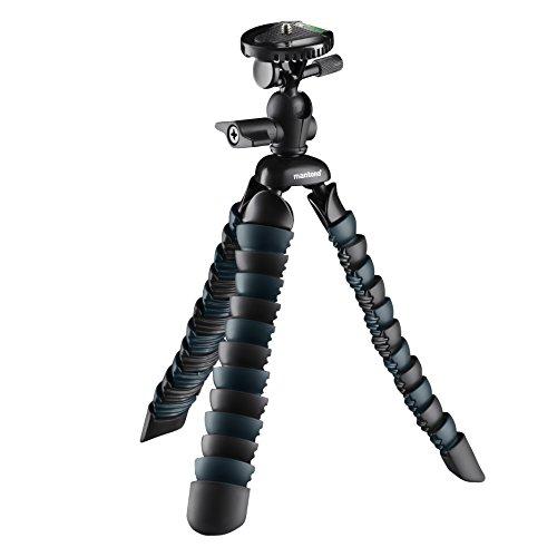 Mantona Armadillo DSLR (bis Arbeitshöhe 28 cm, Belastbarkeit von 3 kg, inkl. Adapter mit (1/4 Zoll) Anschluss und Smartphone-Halterung) schwarz/grau
