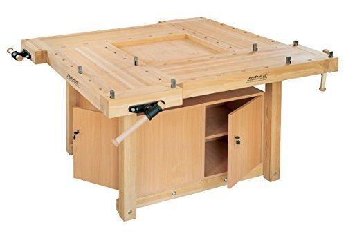 RAMIA Hobelbank für Ausbildungsstätten - SQUARE mit Holzgestell und 2 Werkzeugschränke