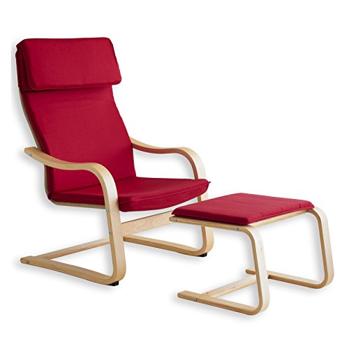 Relax - Sessel LINA rot mit Fußteil