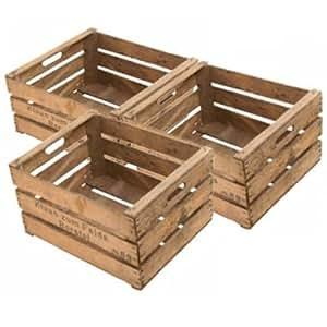 Obstkisten-online 3Pcs. Original à fruits en bois flambé de l'Altes Land Rétro Structure stable pour étagère et meuble Construction